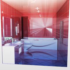 Modern bathroom interior 3d render