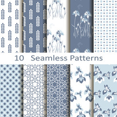 Set of ten seamless patterns