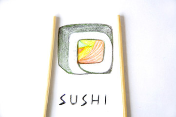 sushi drawing on paper