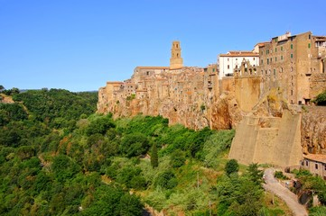 View of the Tuscan hill town of Pitigliano, Italy