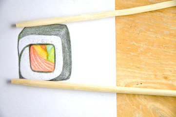 wooden chopsticks on sushi drawing