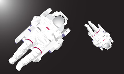 Illustration of two astronauts flying in the dark deep space