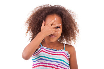 Cute young African American girl hiding her eyes - Black People