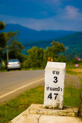 Kilometer marker to Pai in portrait