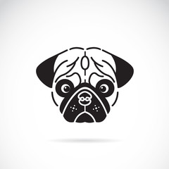 Vector image of pug's face on white background