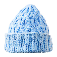 blue  knitted hat on white background