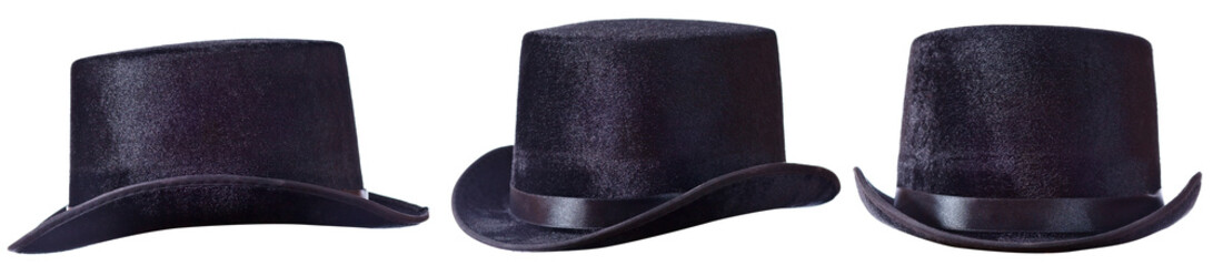 Black top hat on white