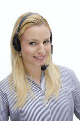 Customer service elegant blonde