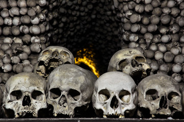 Real human skulls in bone chapel in Kutna Hora