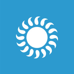 sun icon, white on the blue background .