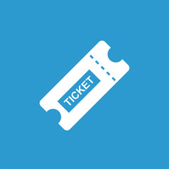 ticket icon, white on the blue background .