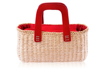 Red bamboo bag