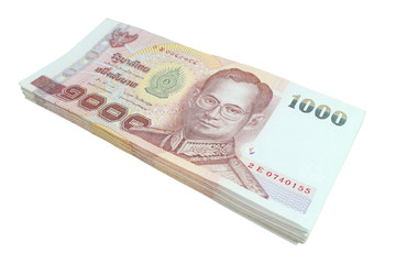 Thai baht banknotes isolated on white