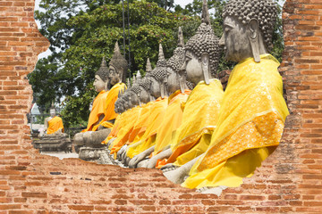buddha statues in Ayutthaya, Thailand Public places
