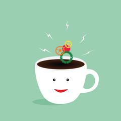 Coffee cup for brighten your day,vector illustrator
