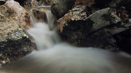 Waterfall into tranquil pool slow shutter time lapse
