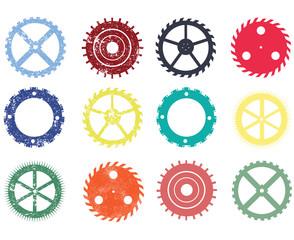 Grunge gear icon set,Vector illustration.