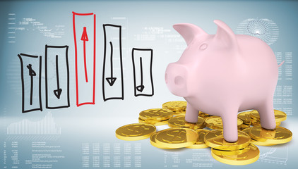 Piggy bank with gold coins and graph