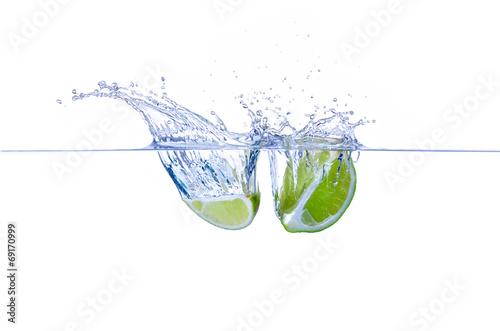 canvas print picture Limettenschnitz Splash