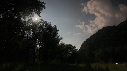 Moon rise wild landscape 4K