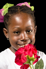 african girl with flower