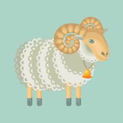 curly sheep with bell isolated