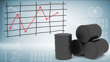 Black oil barrels with graph of price changes