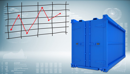 Shipping container with graph of price changes
