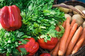 variety of vegetables in the basket close up