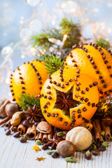 Christmas oranges,spices and nuts