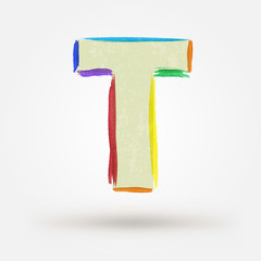 Alphabet letter N. Watercolor vector paint