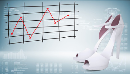 White shoes and graph of price changes