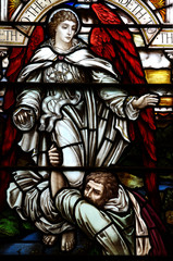 Jacob wrestling with the angel of the Lord (stained glass)
