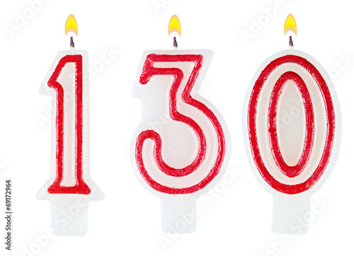 Poster candles number one hundred thirty isolated on white background