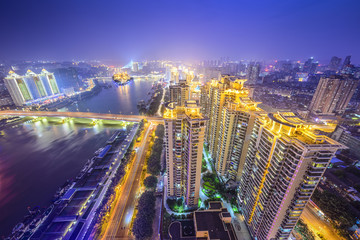 Fuzhou, China Skyline over Min River