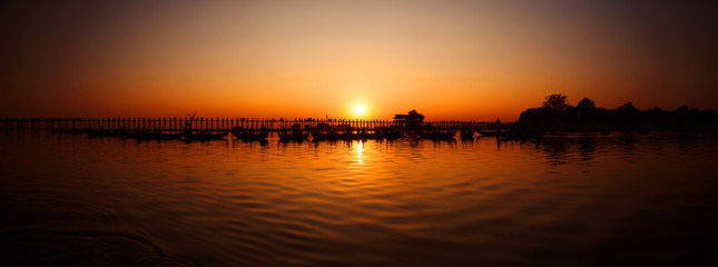 U Bein Bridge at sunset, Burma (Myanmar)