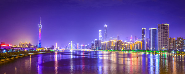Guangzhou, China Panorama Skyline on the Pearl River
