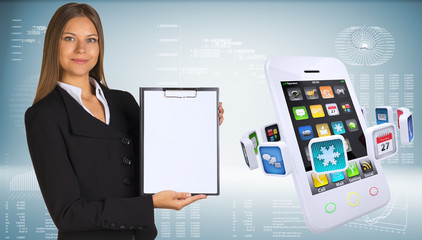 Businesswoman with smartphones and colorful apps