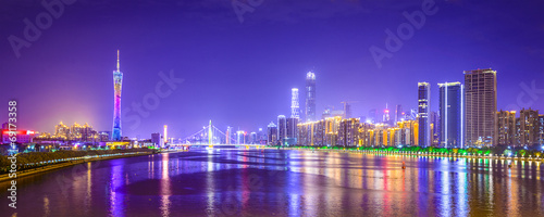 Staande foto China Guangzhou, China Panorama Skyline on the Pearl River