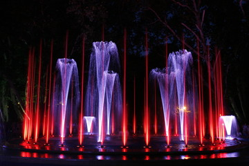 Multimedia colorful musical and light fountain