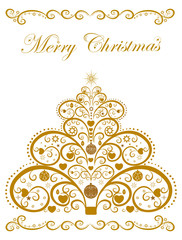 Winter Christmas background with decorative tree