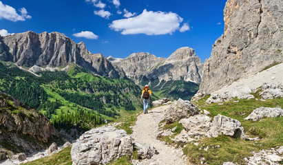 Dolomites - hiker in Badia Valley