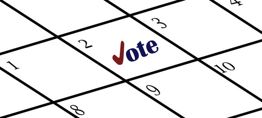Calendar with reminder to vote
