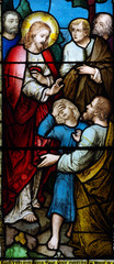 Wonder of Jesus: curing a child (stained glass)