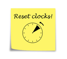 Sticky note reminder to set clocks back