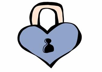 doodle love padlock