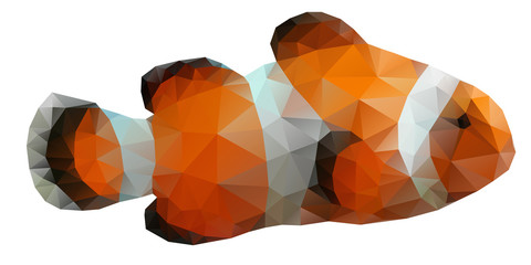 Polygon abstract illustration of  clown fish