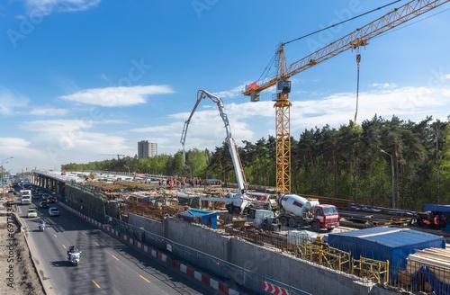 Leinwanddruck Bild Road construction