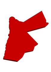 kırmızı renkli ürdün haritası