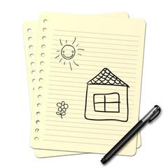 Dessin au stylo : Maison et jardin N